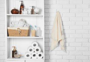 Bathroom Set With Towels Toothbrushes And Basket