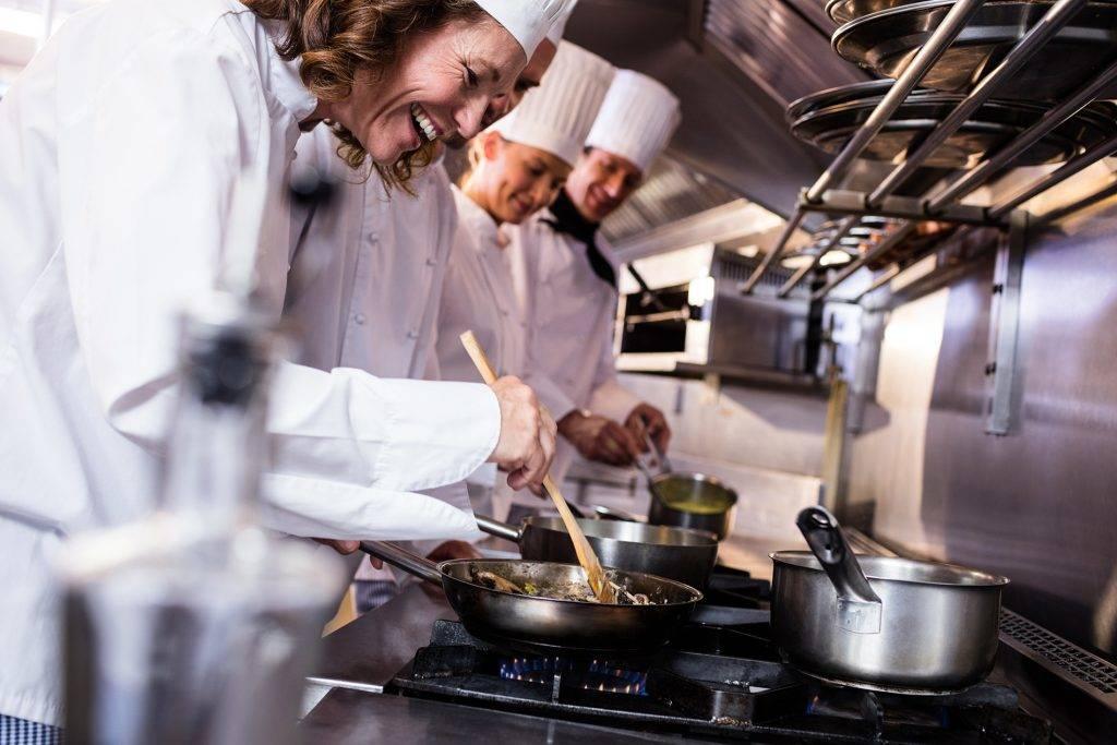 Chefs Preparing Food Kitchen Restaurant Gas Hobs