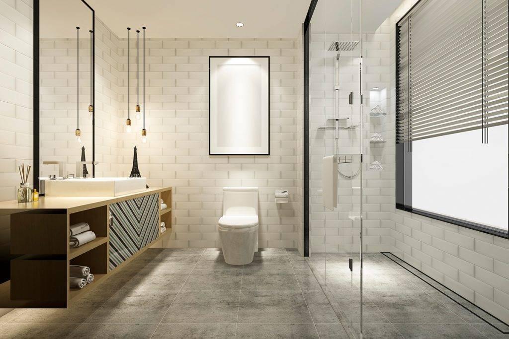 Rendering Modern Bathroom With Luxury Tiles