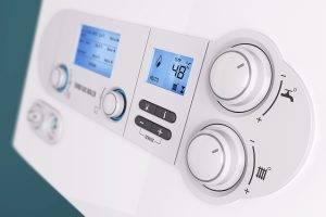 Smart Control Panel Household Gas Boiler Closeup