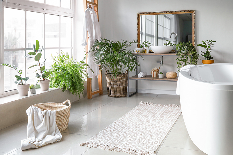Stylish Interior Of Bathroom With Green Houseplants Small